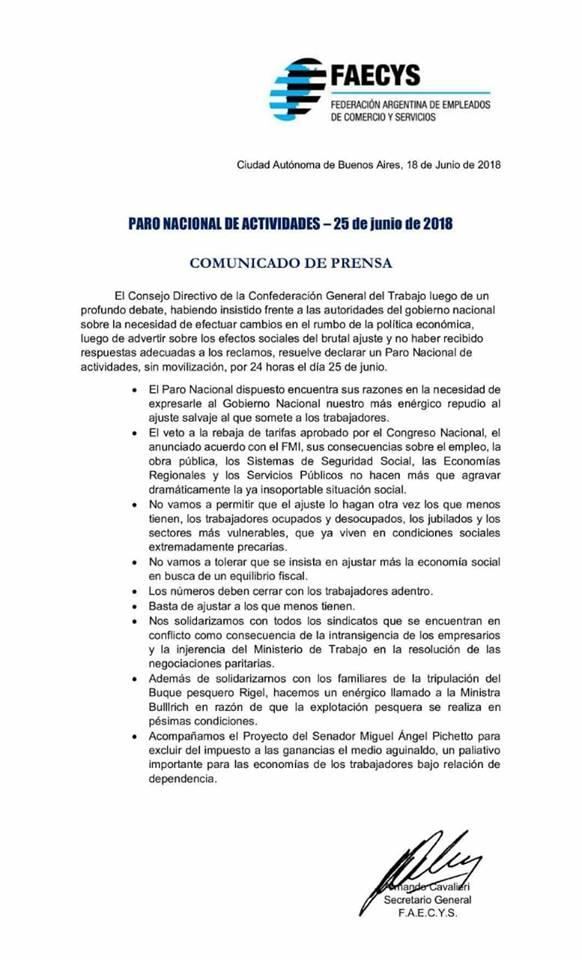 PARO NACIONAL - 25 DE JUNIO