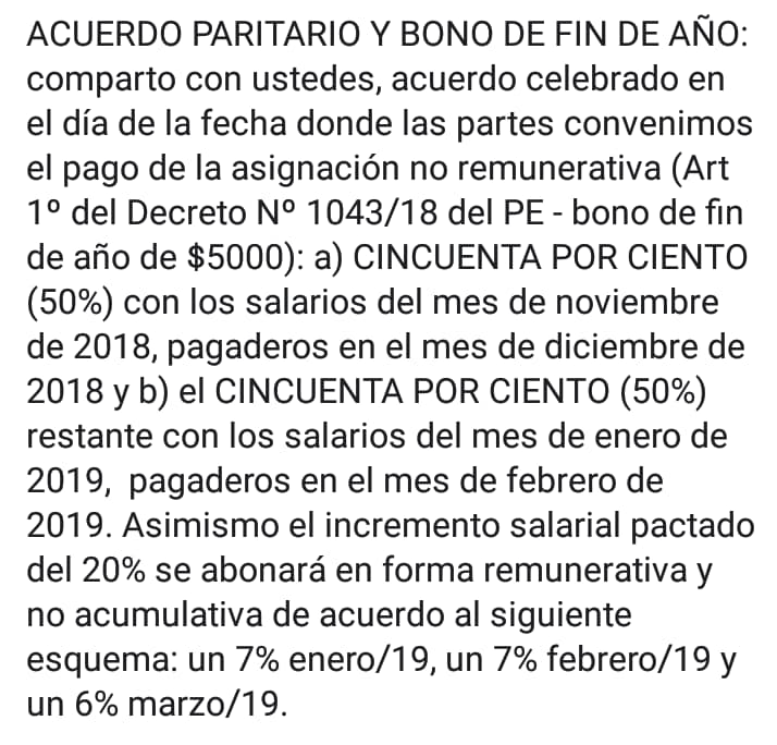 Acuerdo paritario y bono de fin de año para los mercantiles