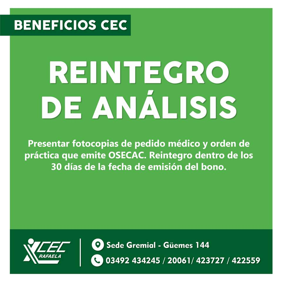 REINTEGRO DE ANALISIS