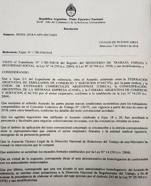 HOMOLOGACION DEL ACUERDO GATILLO PARITARIAS 2017