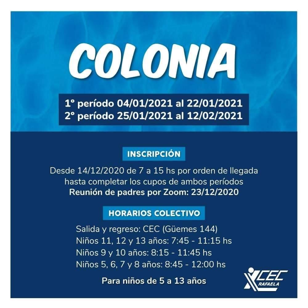 ATENCIÓN COLONIA, LUGARES DISPONIBLES