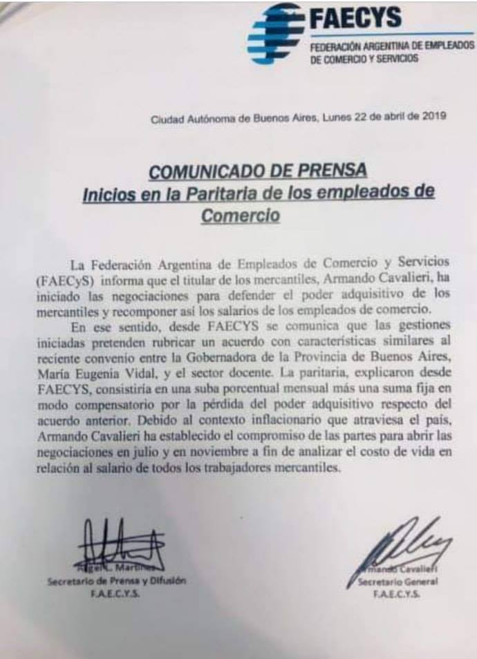 COMUNICADO DE PRENSA