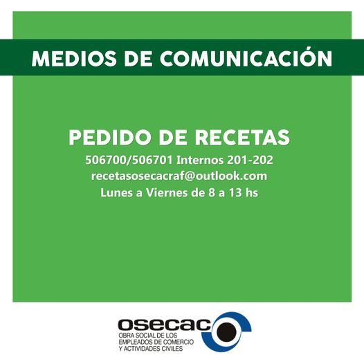PEDIDO DE RECETAS OSECAC